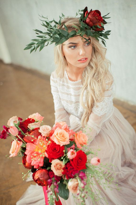 STUNNING Red/Peach/Coral Wedding Bouquet Of Roses, Peonies, Tulips, Greenery/Foliage + Peony & Greenery Floral Crown ~~