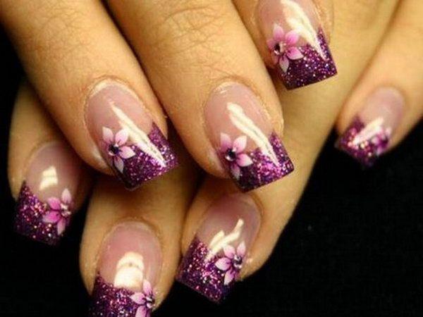Stylish Purple Flower French Manicure.