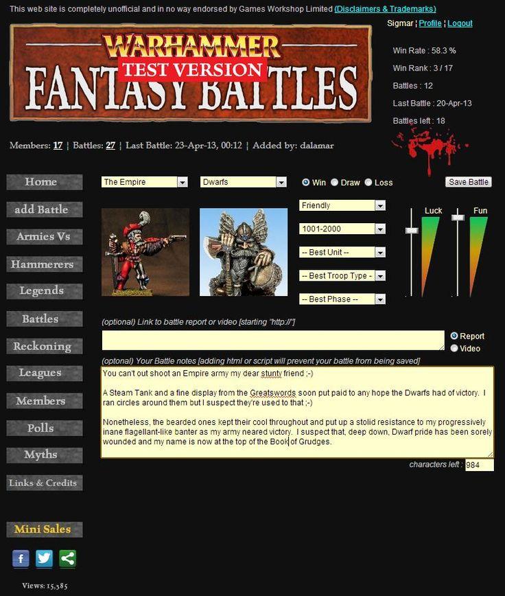 Add battles page - www.wfbattles.com