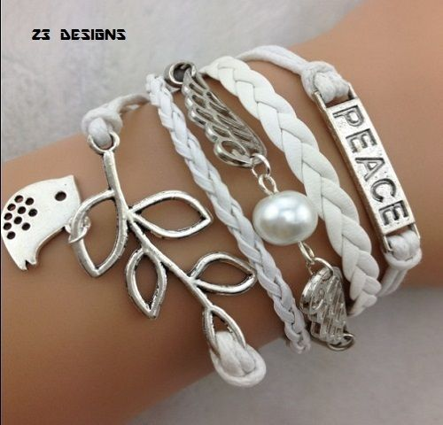 Peace Angel Wings Lucky Leaf Bird Charm Bracelet. Starting at $1 on Tophatter.com!