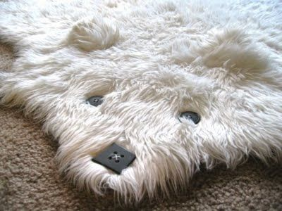 Faux shaggy bear rug with buttons