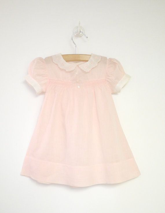 Vintage Baby Clothes 1940's Rosebud Pink and White by BabyTweeds