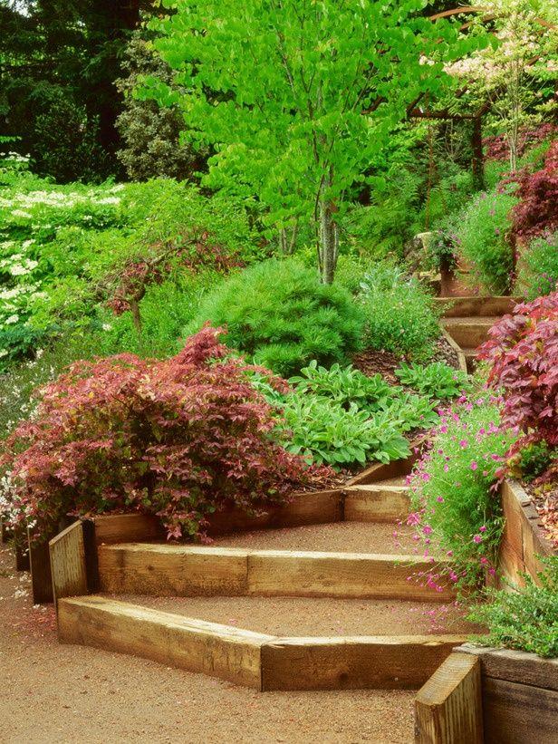 68 best images about slope terraced gardens on pinterest for Garden design hillside