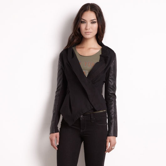 Asymmetrical mixed media jacket by Rachel Rachel Roy.: Roy Canvas, Canvas Jackets