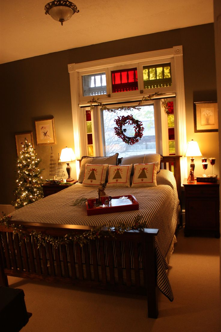 Stained Glass Windows In A Cozy Christmas Bedroom