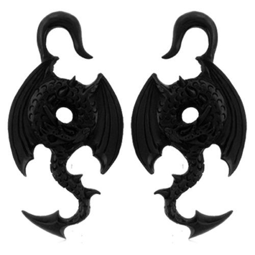 Pair-WINGED-DRAGON-Hand-Carved-HORN-GAUGES-Tunnels-Plugs-Ear-Lobe-Black-spiral