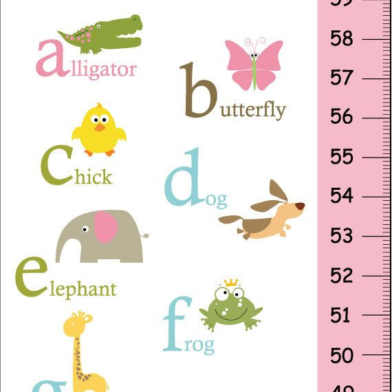 Alphabet Animals Children Growth Chart pink and green- Nursery wall art , Baby girl room decor on Etsy, $38.09 AUD
