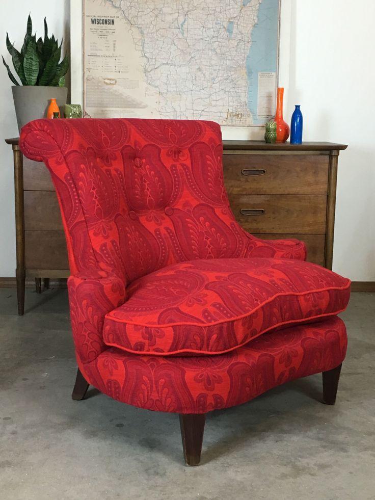 Custom Upholstered Mid Century Vintage Red Slipper Chair By Rubybubble On  Etsy Https://