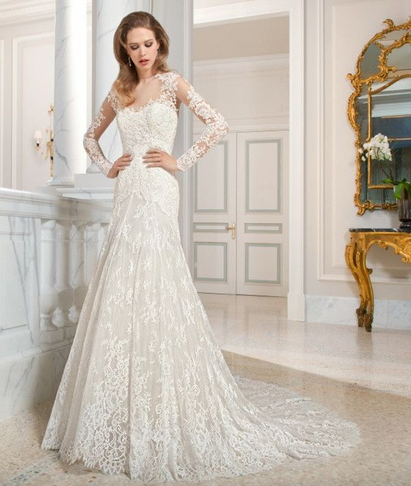 Fit and flare lace wedding dress | Demetrios Couture 2015 Bridal Collection via @WorldofBridal