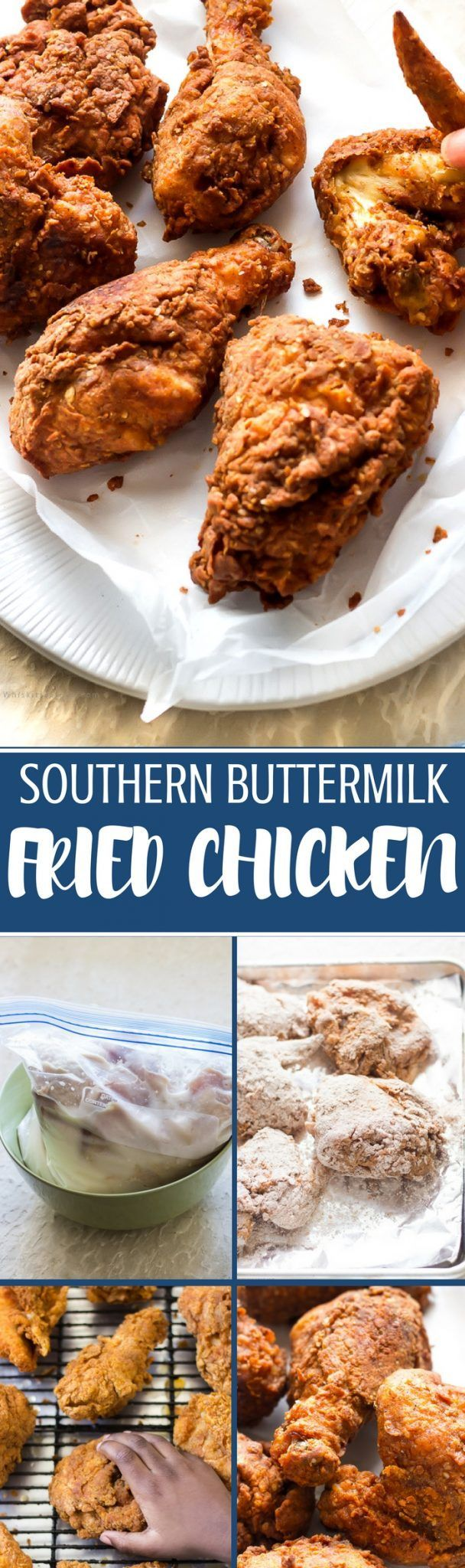 This southern buttermilk fried chicken is golden with a crunchy crust and juicy and tender. It's finger-licking good (thanks to the brine and buttermilk).
