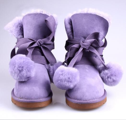 Sweet Cute Purple Lace-Up Bowknot Fluffy Snow Boots
