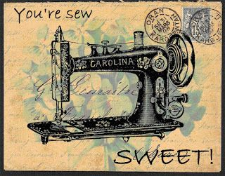 Free printable - Card topper - Post Card - You're SEW Sweet w/sewing machine.