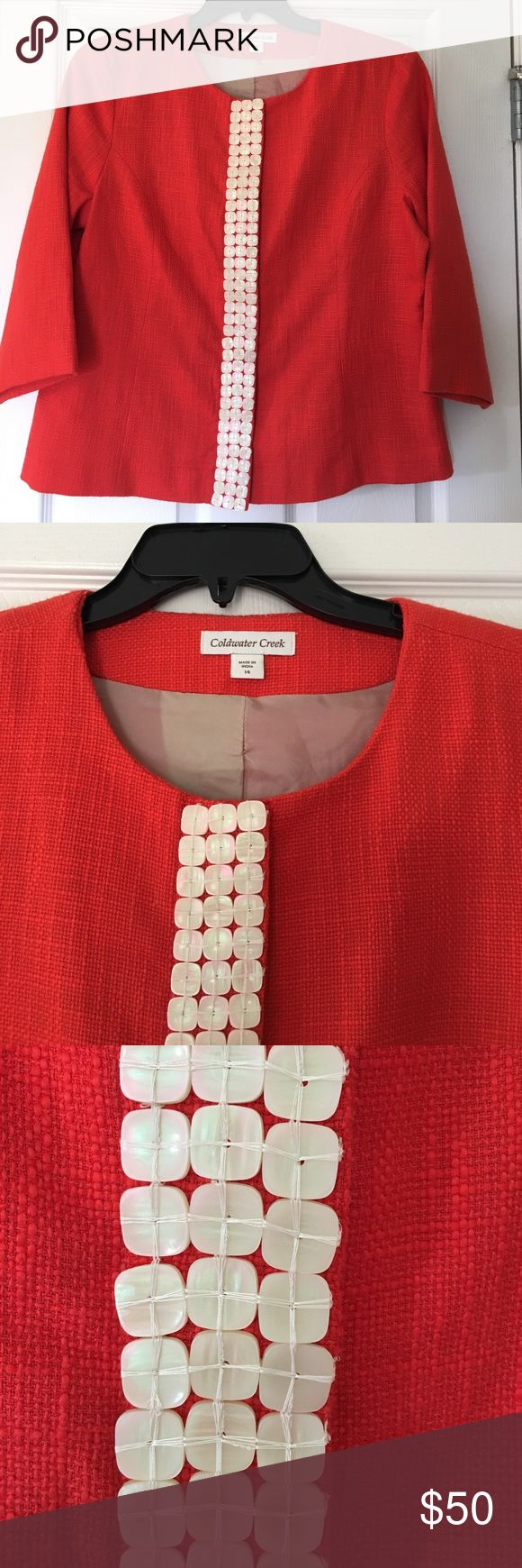 3/4 sleeve lined suit jacket with seashell buttons Coldwater Creek.  Tags removed, but never worn. Excellent for professional dress with suit pants or casual Friday with jeans. Coldwater Creek Jackets & Coats Blazers