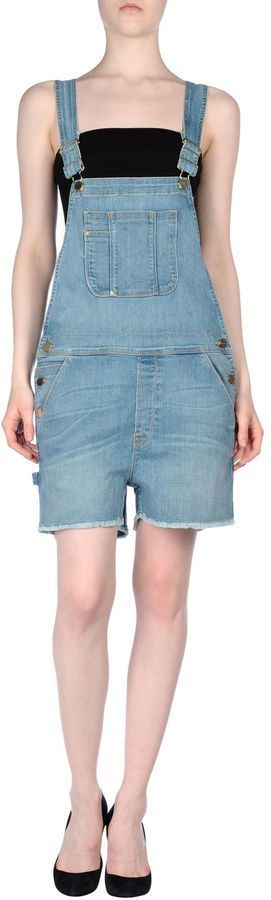 $80, Frame Denim Short Overalls. Sold by yoox.com. Click for more info: https://lookastic.com/women/shop_items/432485/redirect