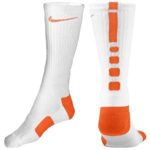 Nike Elite Basketball Crew Sock - Men's - Basketball - Accessories - White/Orange