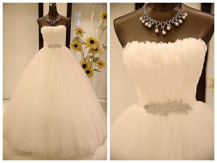Wedding dress formal dress tube top slim waist feather rhinestone belt slim waist bride wedding puff skirt