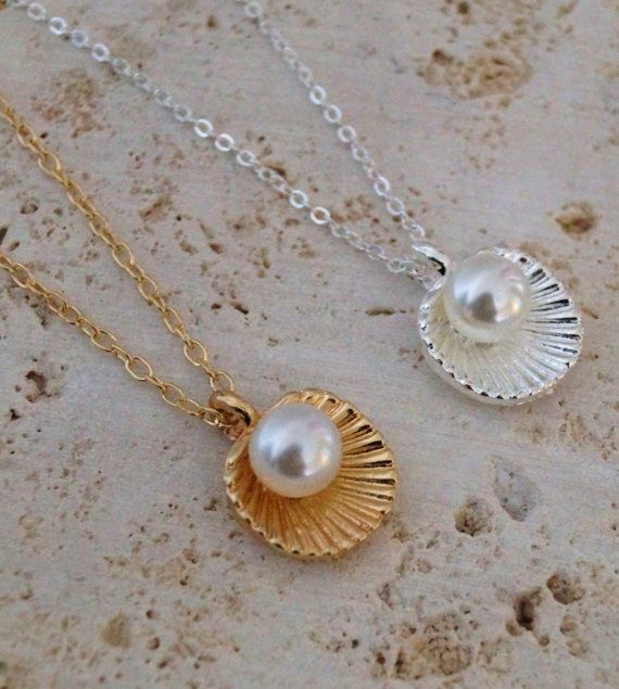 Oyster Shell Necklace Oyster Shell Pearl by DollysDaydreamss