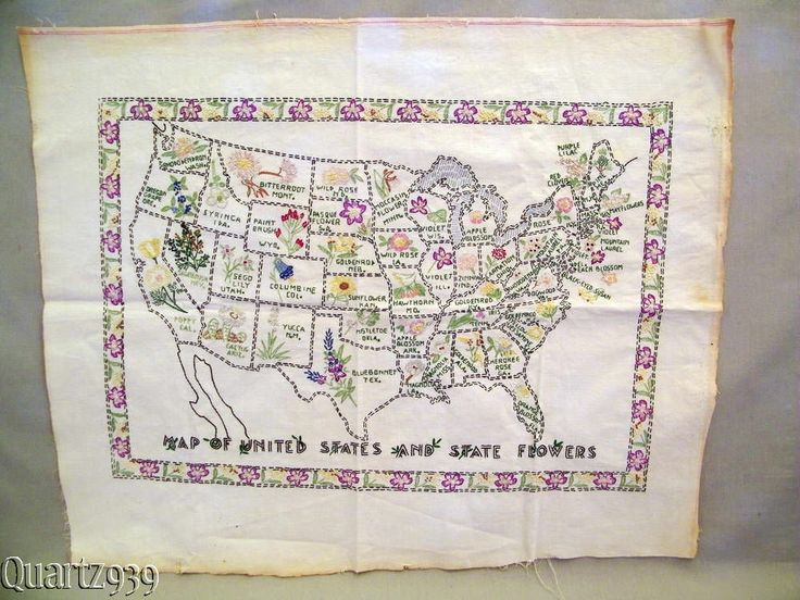 Best State Flower Quilt Images On Pinterest Flower Quilts - Us state map quilt