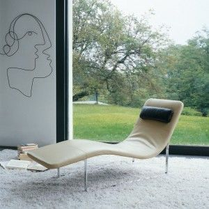Contemporary Chaise Lounge For Relax. Cream Leather Upholstery Modern  Chaise Lounge Design Ideas