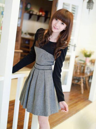 HQ Korean Style Fashion Autumn Winter Woolen Casual Dress | eBay