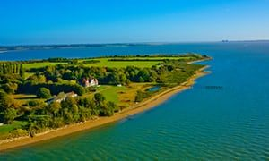 Aerial view of Osea island, Essex, on a clear day