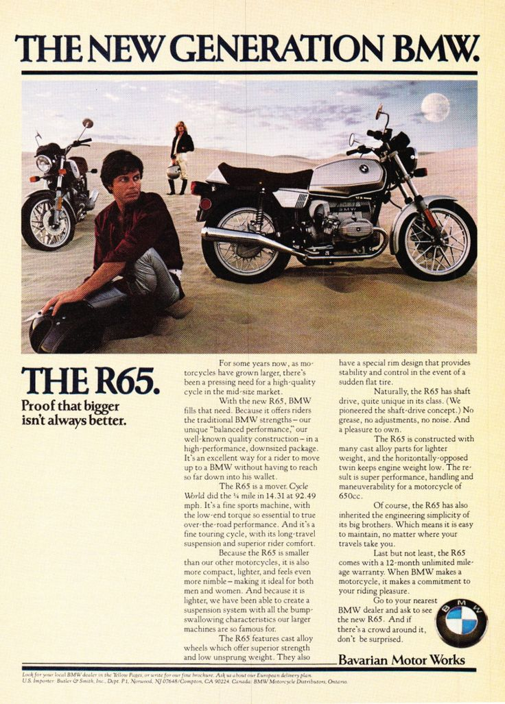 "1979 BMW R65 Motorcycle Ad ""New Generation"""