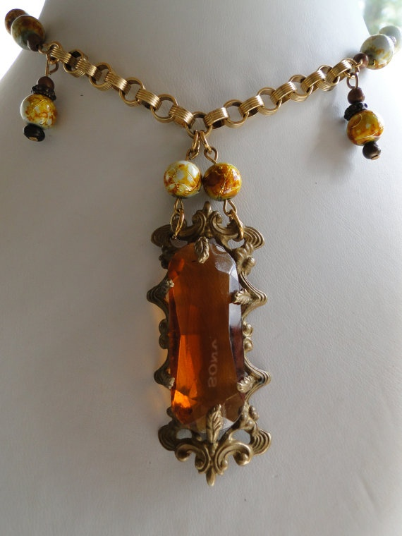 Antique Amber Pendant Necklace In Autumn Colors by AlexandraAndCo, $28.95