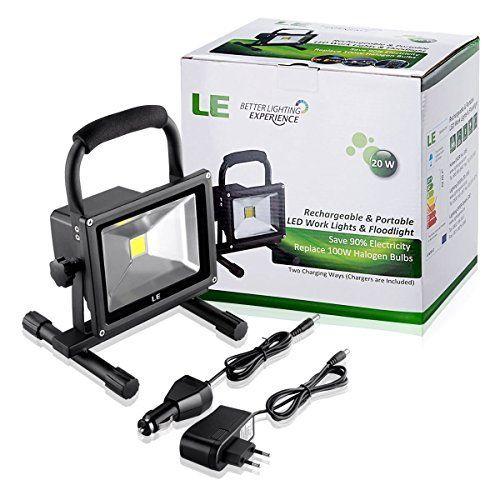 LE 20W Projecteur LED Portable, Rechageable, Lampe de Travaux Equivalent à Ampoule Halogène 100W, 1400lm, Blanc du Jour 6000K, Adaptateur…