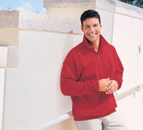 Promotional Products Ideas That Work: Men's classic cotton blend fleece half-zip. Made in North America. Get yours at www.luscangroup.com