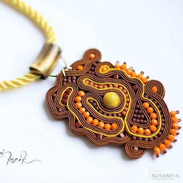 Sutasz wisior w brązach - Naszyjniki, korale - Biżuteria artystyczna