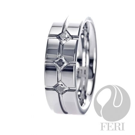 FERI Tungsten - Ring - Tungsten ring - Set with AAA cubic zirconia - Dimension: 8mm (Width)  FERI Tungsten, Plangsten and Hi-Tech Ceramic collections are unique with deep luster from within. The flawless features and indestructible nature of FERI Tungsten, Plangsten and Hi-Tech Ceramic pieces will create an everlasting beauty and confidence.   www.gwtcorp.com/ghem or email fashionforghem.com for big discount