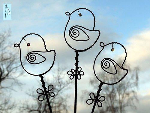 Ptáček - zápich do květináče