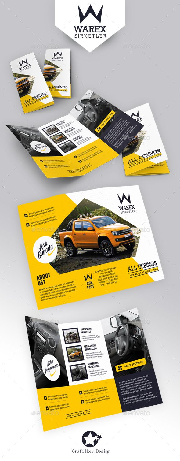 Automobile Introduction Tri-Fold Templates - #Brochures Print #Templates Download here: https://graphicriver.net/item/automobile-introduction-trifold-templates/19216955?ref=alena994
