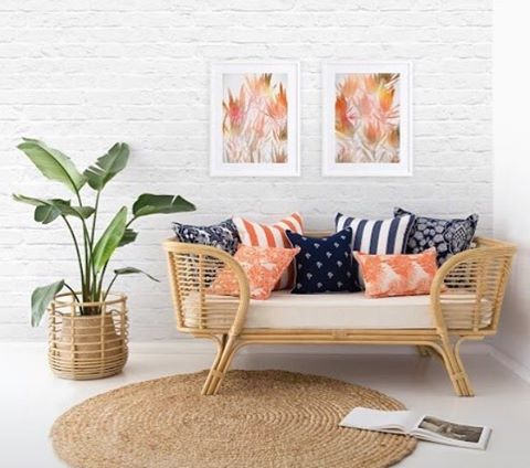 #3beaches #tropical #colourpop #cushions #outdoorfurniture #outdoorliving #orange #navy #blueandwhite #nautical