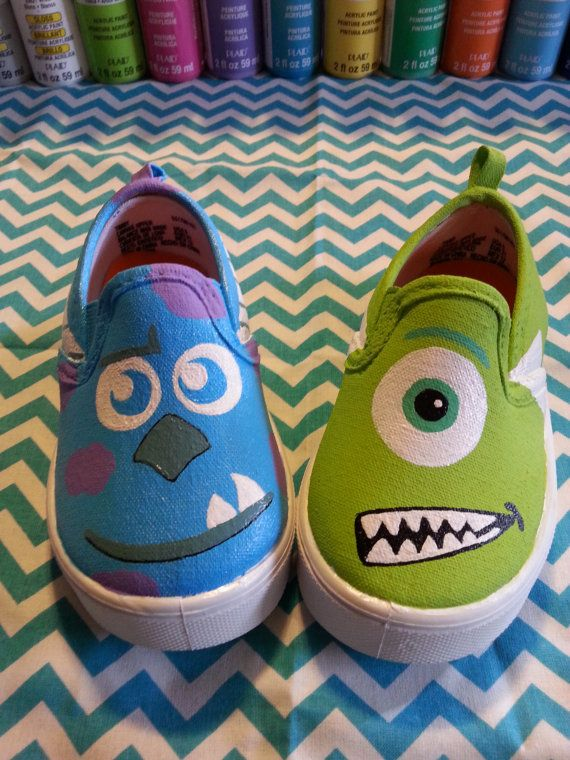 Monsters Inc Indspired Hand Painted Shoes on Etsy, $30.00