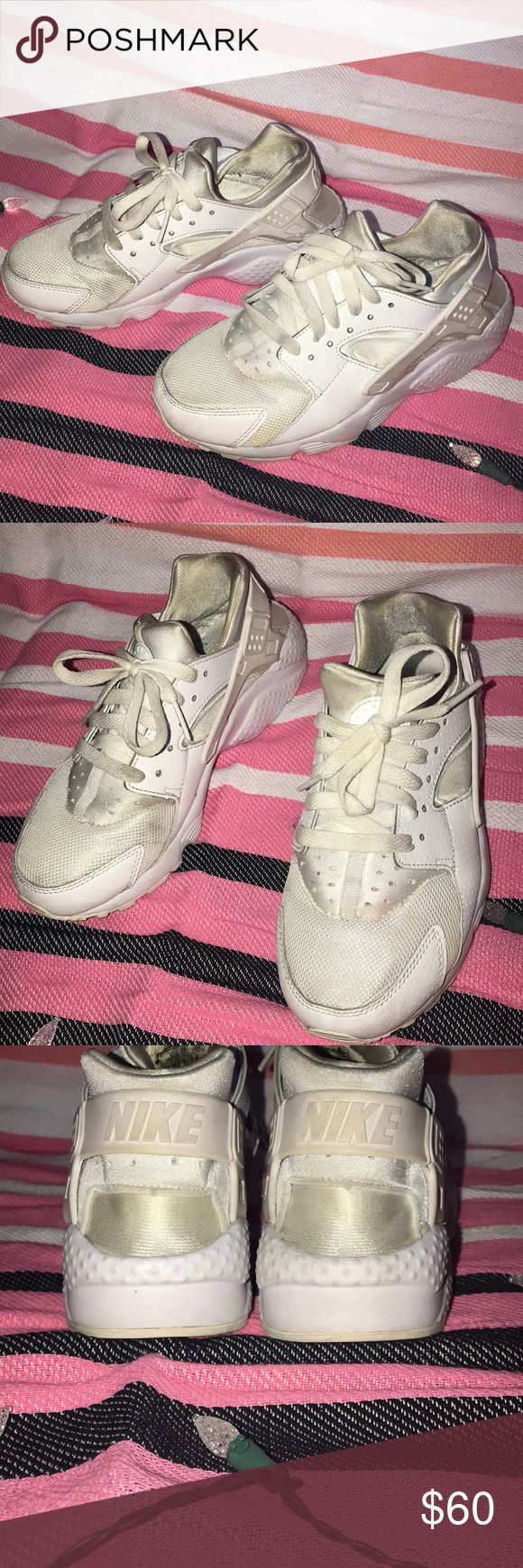 White Nike Hurache Shoes! White Nike Hurache Shoes! Only worn a few times for Dance Competitions, so in need of a bit of a clean. Super cute & still have some life in them! Offers accepted!!  Nike Shoes Sneakers