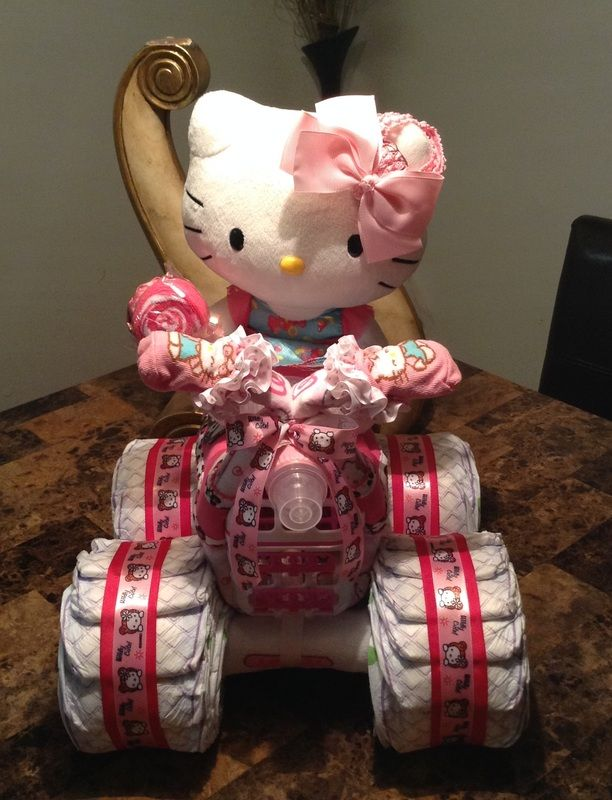 Hello Kitty Diaper Quad, Diaper Cakes, Diaper Creations, Diaper Bike, Girl Diaper Cakes, Baby shower gifts
