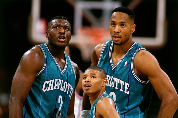 Charlotte Hornets of the early 90's: Larry Johnson, Alonzo Mourning, and Muggsy Bogues. #NBA