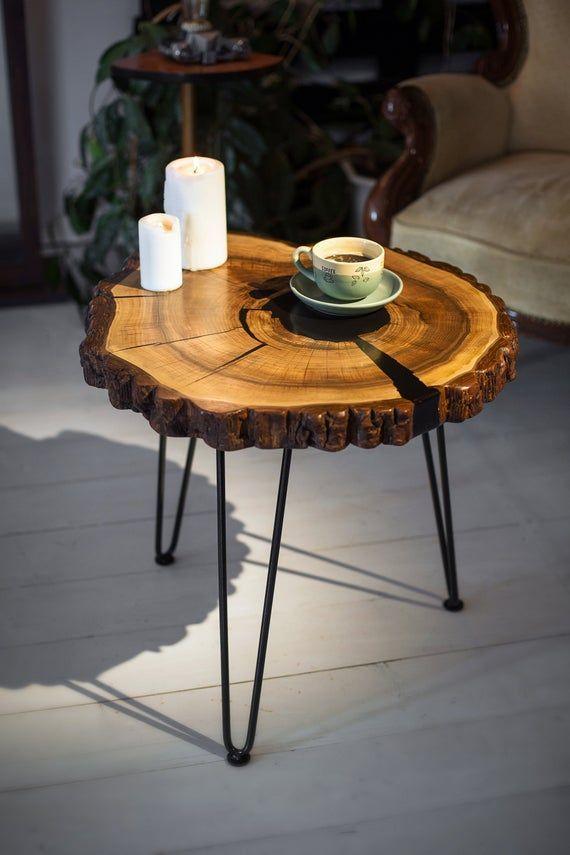 Live Edge Coffee Table Cross Section Table Round Coffee Etsy Ahsap Evler Dekor Tasarim Oda
