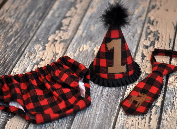 Birthday Party Hat, Diaper Cover, Tie - First Birthday, Smash Cake Pics, Photo Prop - Lumberjack Rustic Moose Cake Smash - Cake Smash Outfit Lodge or Wilderness Inspired Moose on Red and Black Buffalo Plaid Flannel