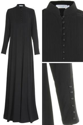 PINTUCK BLACK ABAYA - Classic pintucking and buttons running down the placket and up the cuffs, sophisticated & smart with an air of elegance. Made from Twill Marina, the perfect outfit for work and smart dressing all season.