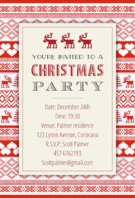 Sweaters Pattern - Free Printable Christmas Invitation Template | Greetings Island