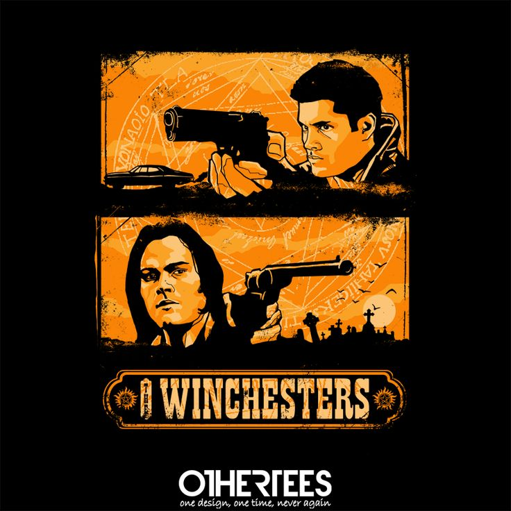 """The Winchesters"" by zerobriant on sale until 9th September at Othertees.com Pin it for a chance at a FREE TEE! #supernatural #winchesters #samwinchester #deanwinchester #castiel #othertees"