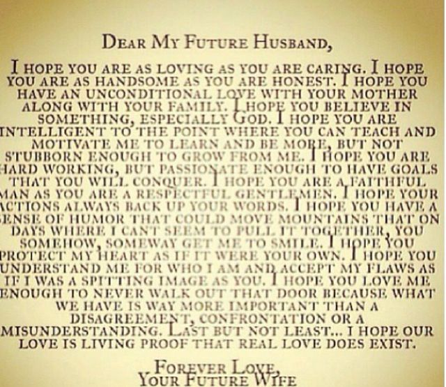 Dear future husband The man God chose for the hero in my - love letter to husband