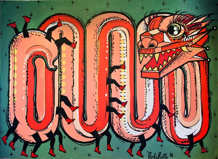 """Fake parade""  Paola Rollo _ 3 x 2 mt _ aug. 2014 _ acrylic on wood www.paolarollo.com"