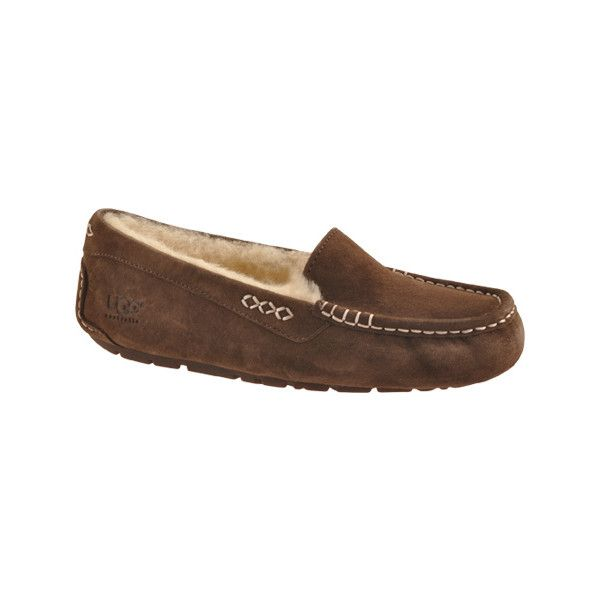 Women's UGG Ansley Moccasin - Chocolate Casual ($100) ❤ liked on Polyvore featuring shoes, loafers, brown, casual, casual shoes, moccasin style shoes, light weight shoes, travel shoes, mocassin shoes and lightweight shoes