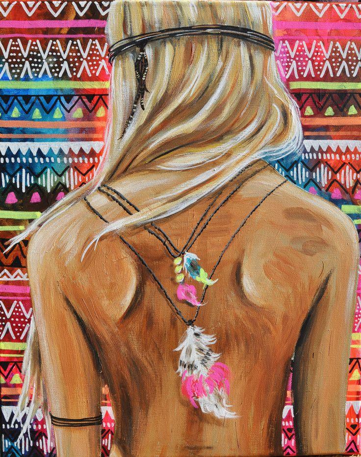 Eva Lubart - peinture femme dos colliers plumes : Peintures par atelier-des-reflets