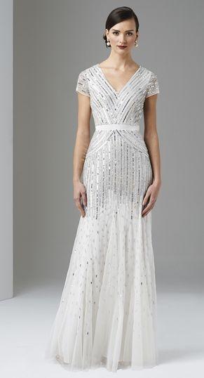 Style#: 092868950 Colors: IVORY Description: Long Dress with Cap Sleeves Size: 6 Size Range: 2-16