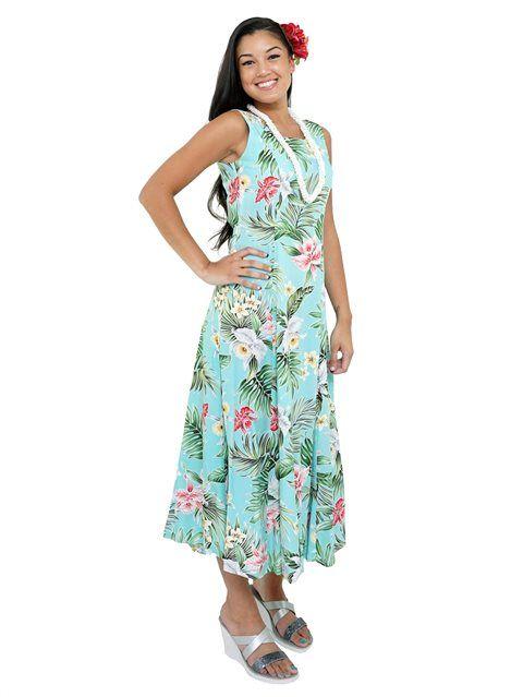 a0ff4f6efb9 Orchid Teal Rayon Hawaiian Sleeveless Long Dress