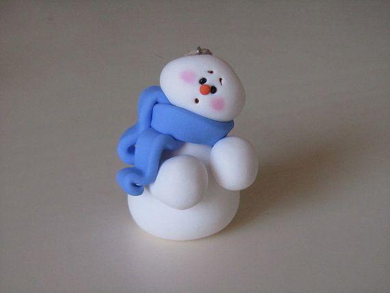 Polymer Clay Snowman Ornament on Etsy, $8.00